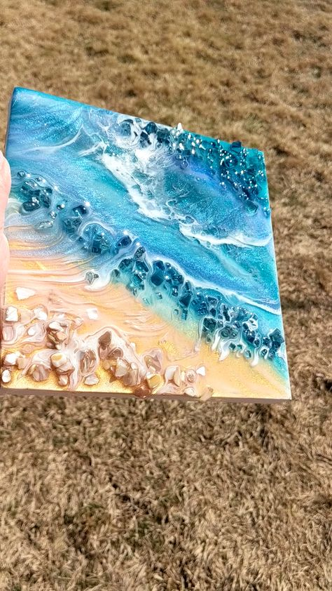 """There is a lot of depth in this piece for only having two layers. I am really pleased with how it turned out. I was originally going to make an """"ocean geode"""" but now I can't imagine changing the piece in any way. Funny how sometimes the ones you don't plan end up being your favorite. 🌊🐚 . . . . . . #fluidartgallery #artresin #fluidpainting #acrylicpouring #resinartist #abstractaddict #abstractwork #fluidartists #fluidartdaily #abstractartwork #fluidartworld #fluidartpour #fluidartforesale"""