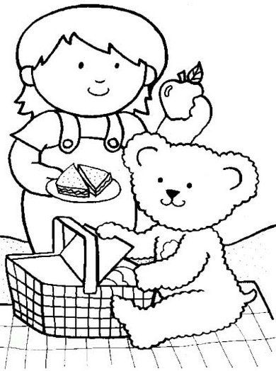 Teddy Bear Preparing For Picnic Coloring Sheet Buku