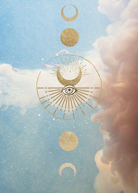Modern Mysticism Art Print   Clouds Celestial Lunar Artwork   Geometric Circle Moon Phases   Evil Ey