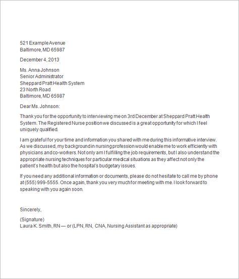 thank you letter after nursing job interview Letter sample