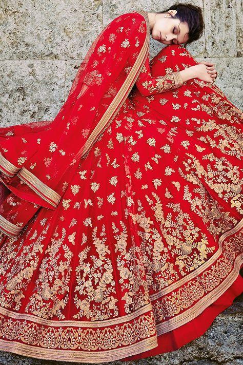 Red Net Three Piece Bridal Lehenga Set Omg the work!