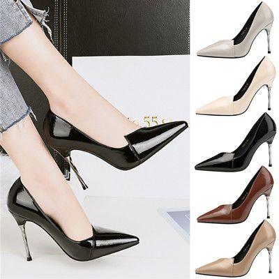 9aa55f2f93 Fashion Women Metal Stiletto High Heel Shoes Office Lady Shallow ...