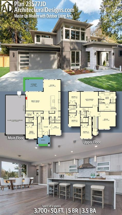 Plan 23577jd Master Up Modern With Outdoor Living Area Architectural Design House Plans House Plans Mansion Modern House Plans