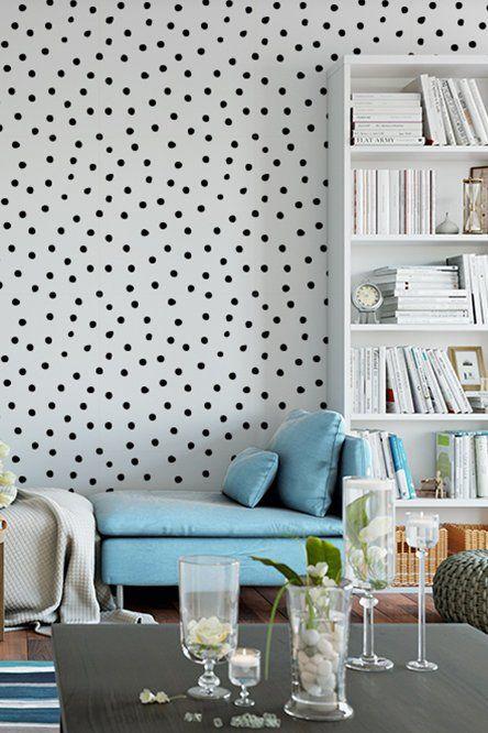 Polka Dot Wallpaper Custom Color Wallpaper Removable Wallpaper Wall Decal Furniture Cover Shelf Co Polka Dots Wallpaper Removable Wallpaper Dots Wallpaper