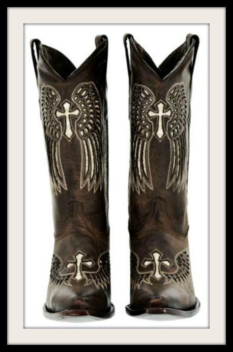 58be1909216 Gold Sequin Angel Wing & Cross Snip Toe GENUINE Dark Brown LEATHER ...
