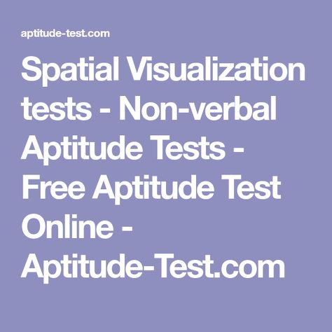Spatial Visualization tests - Non-verbal Aptitude Tests - Free - aptitude test free