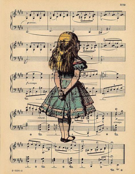 Vintage Alice Portrait Print on an Antique 1889 Music Sheet Book Page