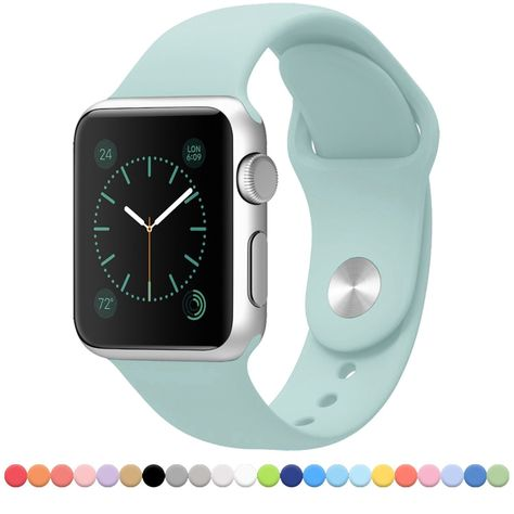 Apple Watch Band - FanTEK Soft Silicone Sport Style Replacement iWatch Strap for Apple Wrist Watch 38mm Models S/M Size (Mint): Amazon.co.uk: Electronics