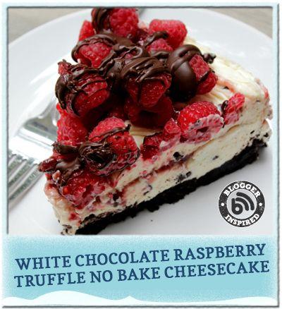 Mmm. White Chocolate Raspberry Truffle No Bake Cheesecake. #dessert #cookingupgood #ad