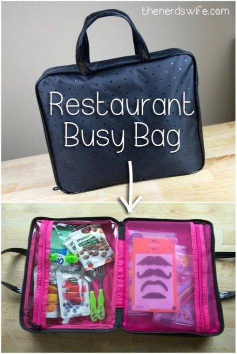 OK, actually, the rest of the family needs you to do this for Jman, ASAP! Restaurant Busy Bag -- everything you need to keep kids happy and not hungry when eating out. Toddler Busy Bags, Toddler Play, Toddler Learning, Kids Bags, Toddler Activity Bags, Infant Activities, Activities For Kids, Airplane Activities, Toddler Travel Activities