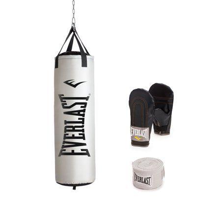 Everlast 100 lb Heavy Bag Kit With Single-Station Stand Value Bundle Gloves Wrap