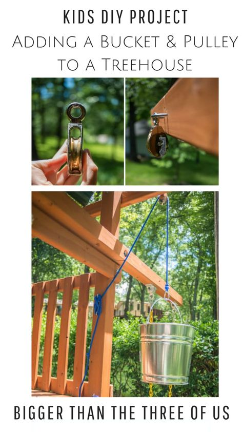 Simple DIY Pulleys for kids can be so much fun! Use this tutorial to DIY a bucket and a pulley for a treehouse. Simple DIY Pulleys for kids can be so much fun! Use this tutorial to DIY a bucket and a pulley for a treehouse.