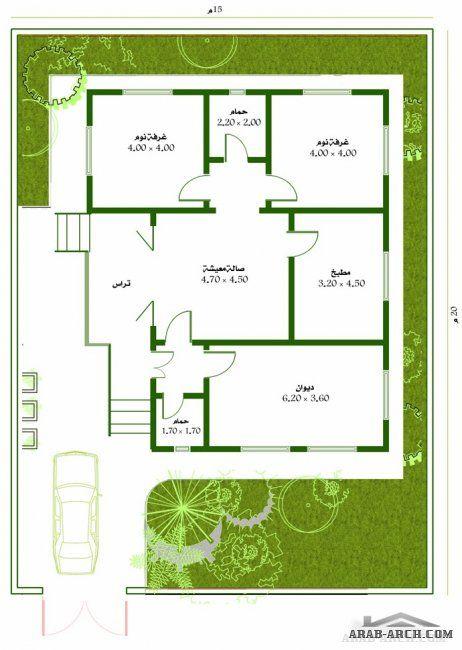 خرائط بيت طابق واحد مسحه البناء 120 متر مربع Square House Plans New House Plans Small House Floor Plans