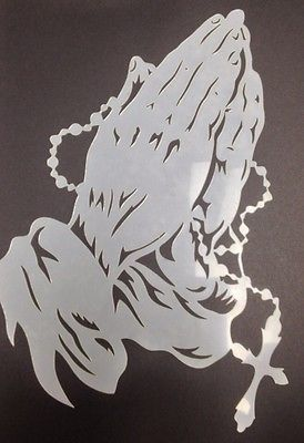 Praying Hands Stencil Reusable 10 mil Mylar Stencil