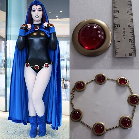 Teen Titans Raven Cosplay Belt with Matching Broach and Hand Gems