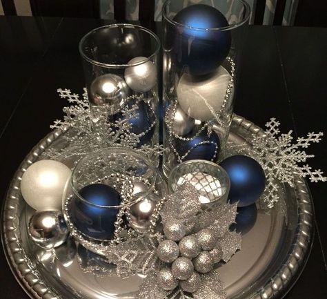 46 Elegant Blue White Christmas Decor Ideas Christmas Decor Diy Cheap Christmas Table Decorations Christmas Table Centerpieces