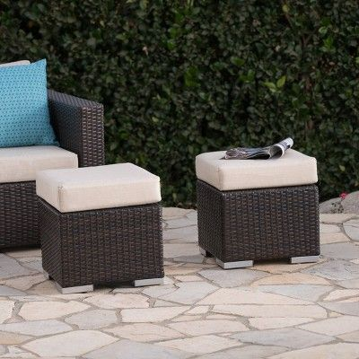 Awe Inspiring Santa Rosa 2Pk Wicker Outdoor Patio Ottoman Seat Brown Machost Co Dining Chair Design Ideas Machostcouk