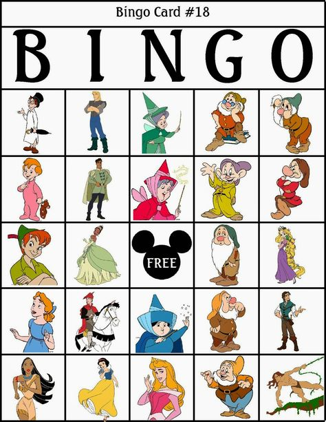 Bingo de Personajes Disney, para Imprimir Gratis.   atividades ...