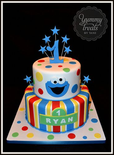 Cookie Monster Primary Colors Cake First Birthday Cakes