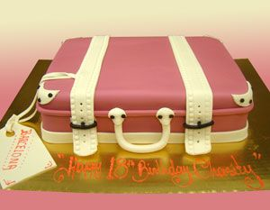 pink suitcase cake - Google Search | You're gonna try to make that ...