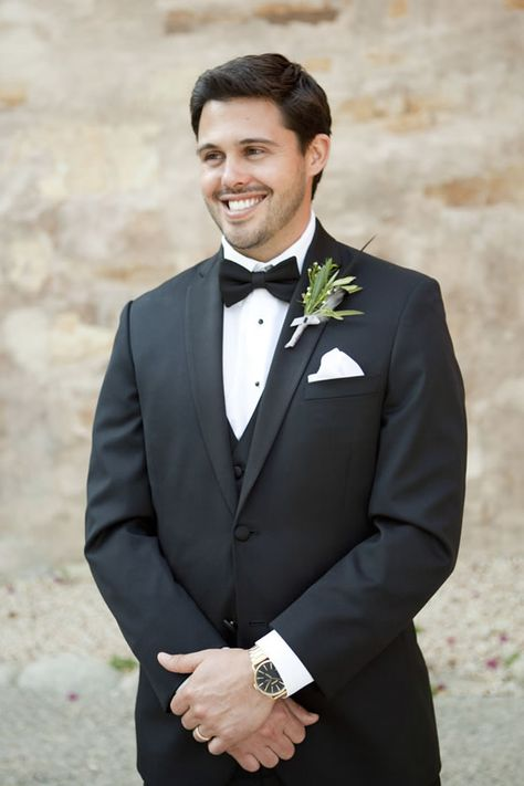 The groom wears a masculine, greenery-only boutonniere. Fleurs du Soleil. Colleen Riley Photography.