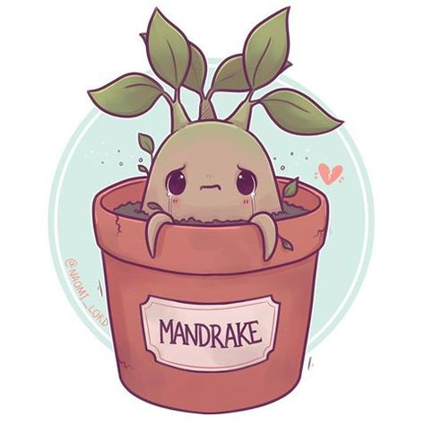 Have a little Mandrake! :3 what are some other HP plants I can draw? ✨ • #mandrake #mandrakeroot #harrypotter #harrypotterart #hogwarts #herbology #cute #kawaii #chibi #instaart #instaartist #instadaily #illustration #illustrationoftheday #digitalpainting #digitalart