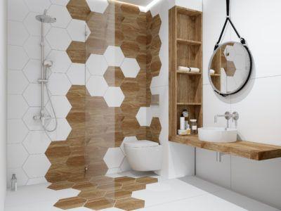 Heksagony Drewno Biel Inspiracje Kaflando Home Decor Printed Shower Curtain Home