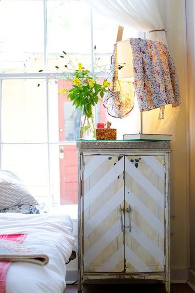 Chevron painted distressed wood cabinet…