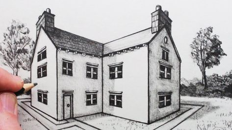 How to Draw a House in Perspective: Part Two: 2-Point Perspective - YouTube