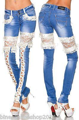 bestbewertet billig Original exklusives Sortiment Ausgefallene Jeans mit Spitze Gr. 36,38,40,42 - Bines-Online ...