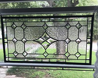 Transom Stained Glass Window Panel W Bevels Crystal Clear Etsy