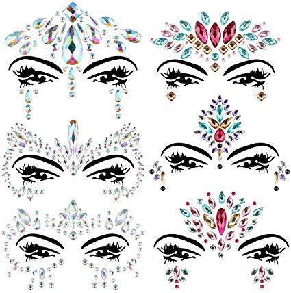 Cizen Strass Visage 6 Set Bijoux Visage Autocollant Strass Tatouage Temporaire Visage Bijoux Sourcil Visage Corp Printed Shower Curtain Prints Shower Curtain