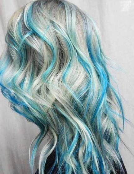 Hair Color Highlights Blue 47 Ideas For 2019 Hair Haircolorbalayage Blue Hair Highlights Blonde And Blue Hair Ombre Hair Color