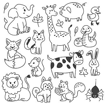 Set Of Animals Doodle Vector Illustration Doodle Clipart Animal Animals Png And Vector With Transparent Background For Free Download Animal Doodles Doodles Kids Vector