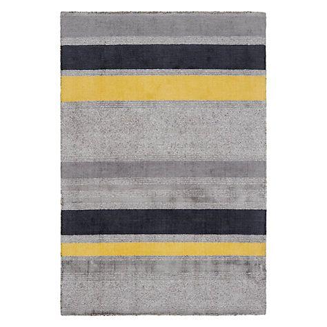 John Lewis Partners Scandi Carla Stripe Rug Grey Yellow