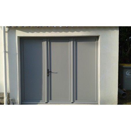 Porte De Garage Battante Pleine 3 Vantaux Remplissage Lisse Teinte Gris Argent Porte Garage Garage Lapeyre Porte