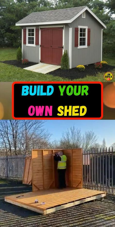 shed plans! Start building amazing sheds the easier way, with a collection of shed plans! Backyard Storage Sheds, Backyard Sheds, Outdoor Sheds, Shed Storage, Backyard House, Shed Building Plans, Diy Shed Plans, Log Cabin Sheds, Shed Builders