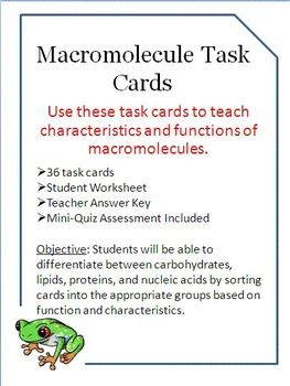 Macromolecules Task Cards Carbohydrates Lipids Nucleic Acids