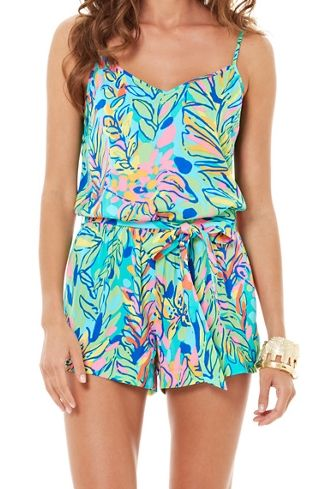 Casual-Dressy/ Spring-Summer/ Lilly Pulitzer Deanna Tank Top Romper in Hot Spot