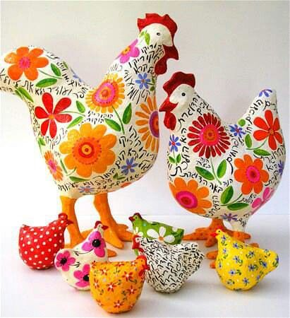 chickens and flowers