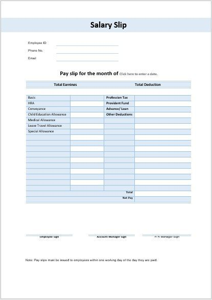 32 Salary Slip Format Templates With Images Word Template