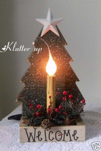 Country Primitive Prim Christmas Wood Tree Candle Light