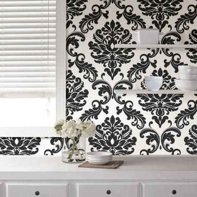 5.5m L x 52cm NuWallpaper Ariel Black and White Damask Peel and Stick Wallpaper