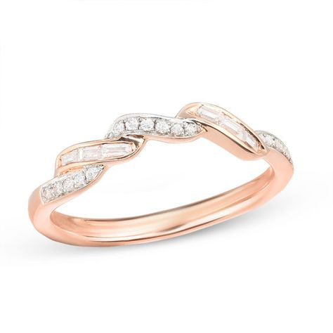 1 6 Ct T W Baguette And Round Diamond Wave Wedding Band In 10k Rose Gold Wedding Bands Rose Gold Round Diamonds
