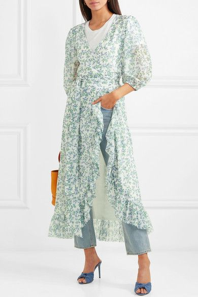 Sky Blue Tilden Floral Print Mesh Wrap Dress Ganni Dresses Wrap Dress Outfit Printed Wrap Dresses