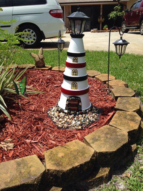 Terra cotta pots made into a light house