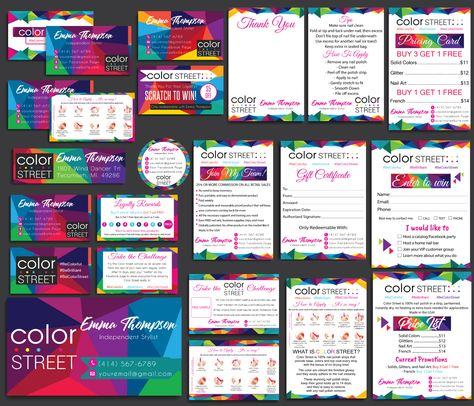 Color Street Marketing Bundle, Personalized Color Street Cards CL47 - 9 items / 48 hours