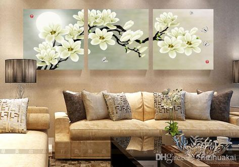 cheap wall art for living room color combination online set modern picture abstract oil painting decor canvas pictures white magnolia by zhizihuakai dhgate com