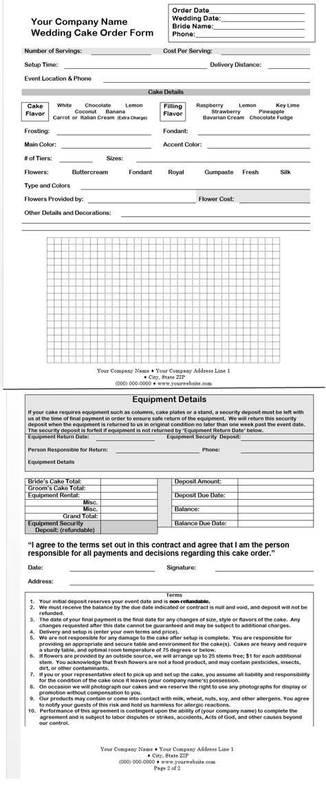 cake order contract starting-a-cake-business starting-a-cake - cake order form template example