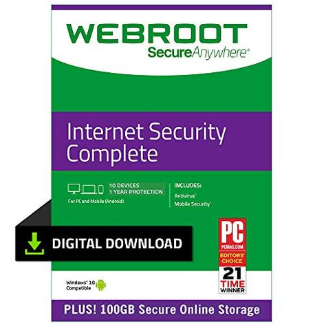 Webroot Internet Security Complete with Antivirus Protection 2019 | 10 Device | 1 Year Subscription | PC Download